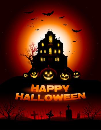 Czerwone tło Halloween Haunted House
