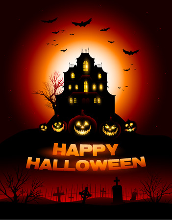 haunted house: Red Halloween haunted house background