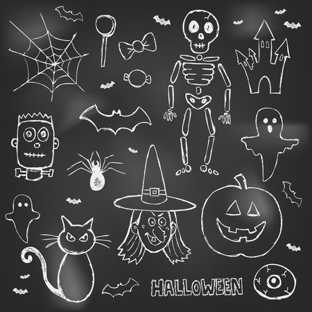 Halloween hand drawn doodles over black board Vector