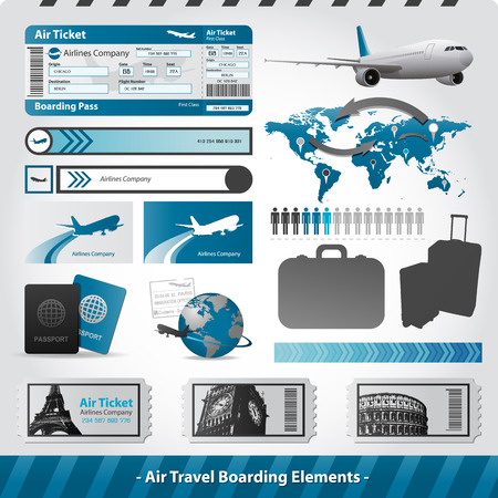 Voyage en avion éléments de conception vol d'embarquement Banque d'images - 31239037