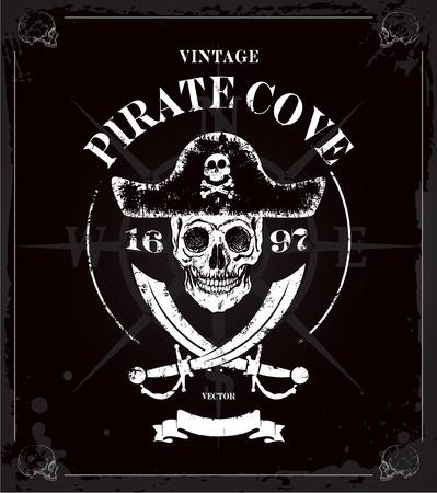 Vintage pirates skull frame background Vector