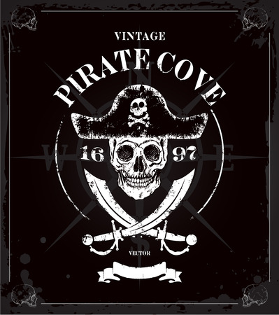 Vintage pirates skull frame background Vector