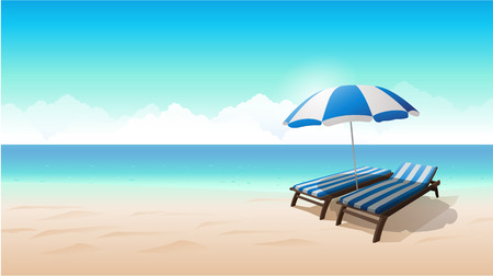 chairs: Landscape beach background vector illustration Illustration