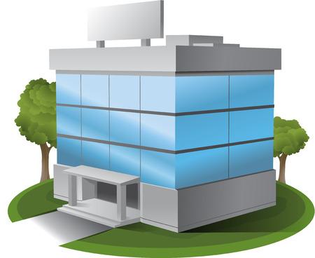 浮き出し事務所建物のイラスト