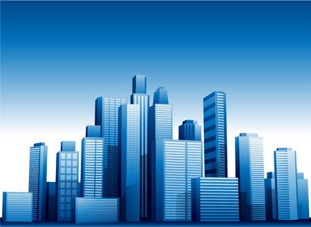 rascacielos: Vector edificios 3d paisaje urbano de fondo