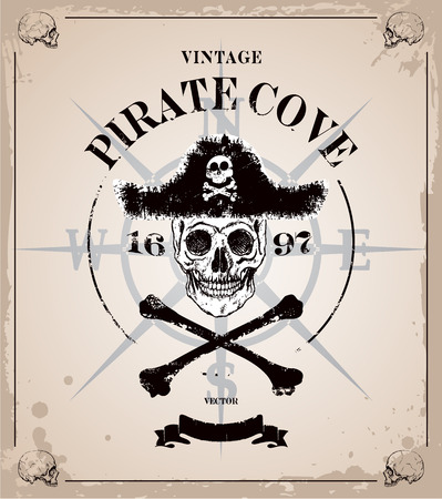 Vintage pirates skull frame background Stock fotó - 32261682
