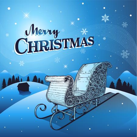 santa sleigh: Blue Christmas winter background with santa sleigh