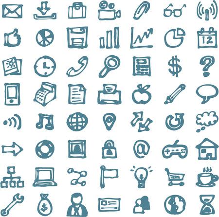 icon set: Blauw hand getekende doodles highligher iconen Stock Illustratie
