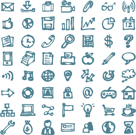 communication icons: Blue business hand drawn doodles highligher icons