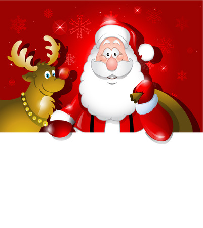 xmas background: Vector Cartoon Santa Claus and Reindeer over white board