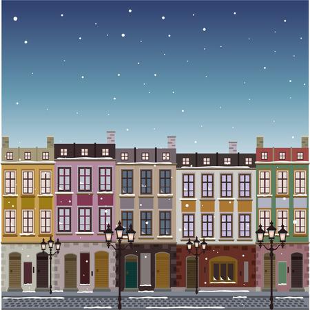 古い通り町クリスマスの背景