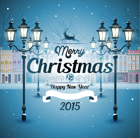 Greeting card snowy old street christmas background Vectores
