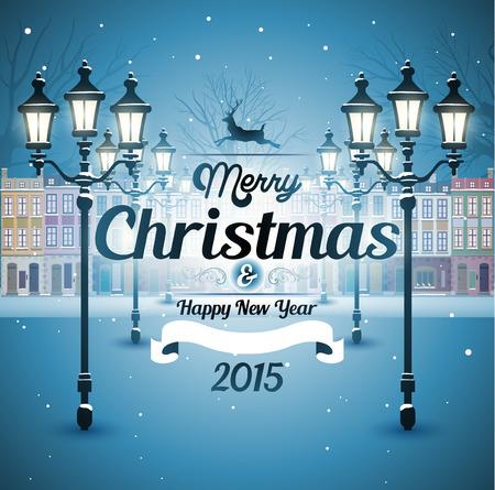 kârlı: Tebrik kartı karlı eski sokak christmas background