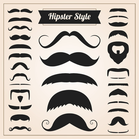 Hipster style mustache set collection Illustration