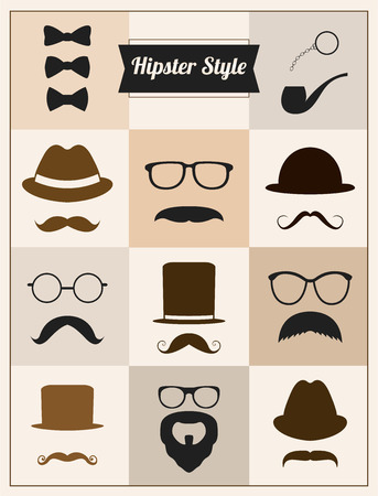 chaplin: Hipster style mustaches hat vector set collection