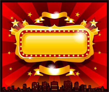 Vintage gouden circus casino banner Stock Illustratie