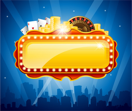 playing games: Casino city background Illustration