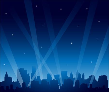 luz focal: Ciudad del partido de la noche
