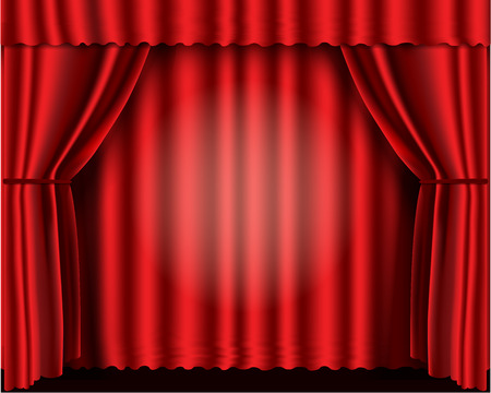 Red velvet theater curtains Vector