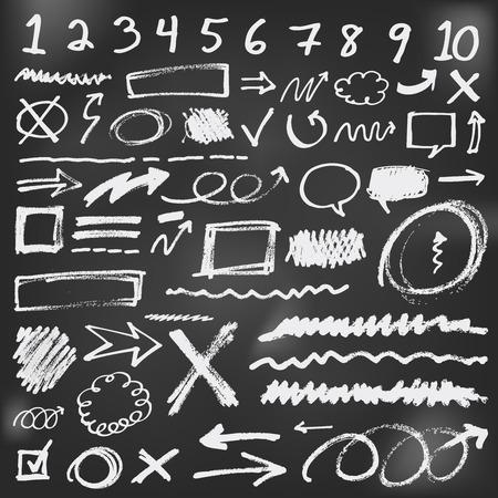 sketch: Speech bubbles sketch doodles in black chalkboard Illustration