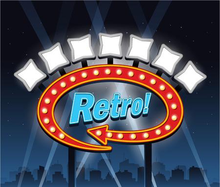 Retro motel Showtime theatre cinema Sign Banco de Imagens - 34227984