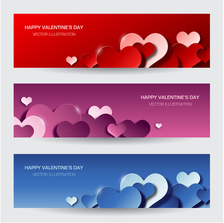 Modern valentine\'s day banners Vectores