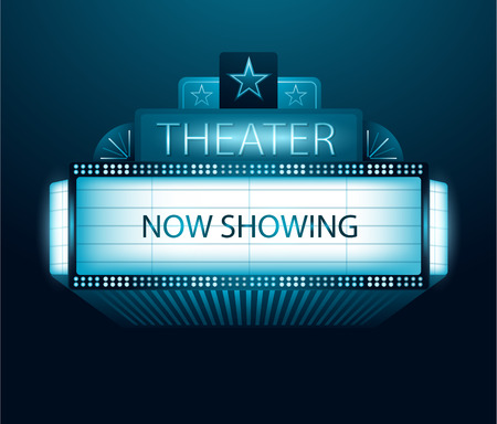 Now showing movie theater banner Иллюстрация