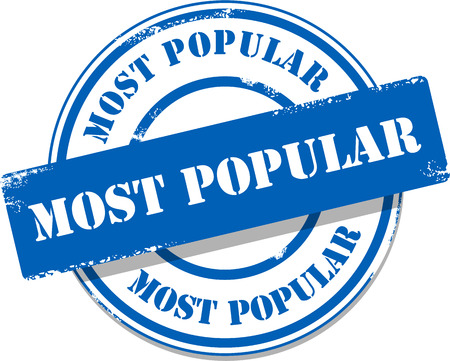 Blue most popular tag stamp Vector