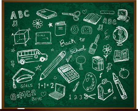 Set of school doodle illustrations Vector