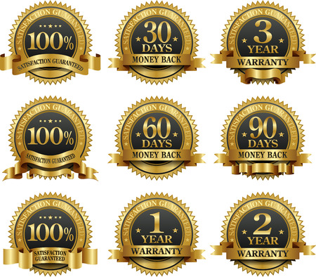 satisfaction: Vector set of 100% guarantee gold labels