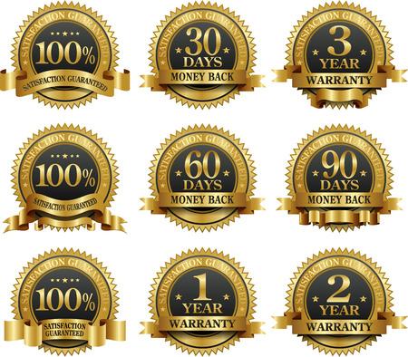 Vector set van 100% waarborg gouden etiketten