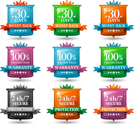 web site design: web satisfaction guarantee labels and security badges Illustration