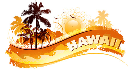 grunge background: Tropical hawaii background  Illustration