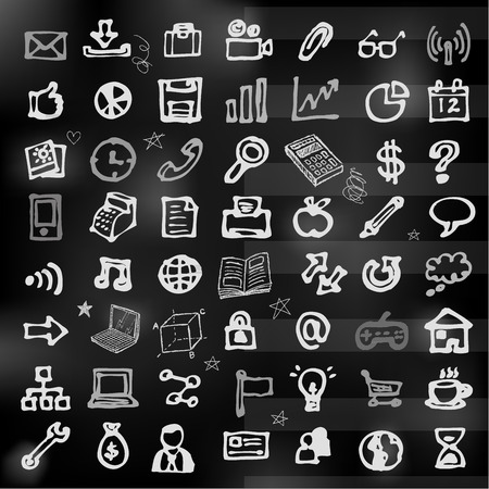 Hand drawn business icons on chalkboard vector Illustration