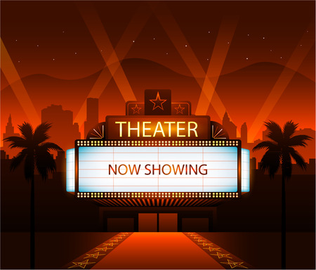 night: Now showing vector theater movie banner sign