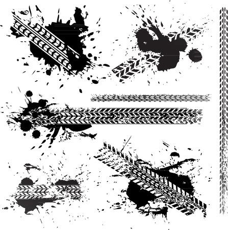 Vector Dirty weg bandensporen op wit wordt geïsoleerd Stockfoto - 36176633