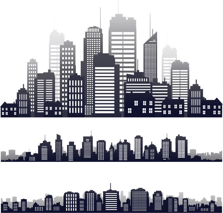 new york skyline: Vector city silhouette building skyline