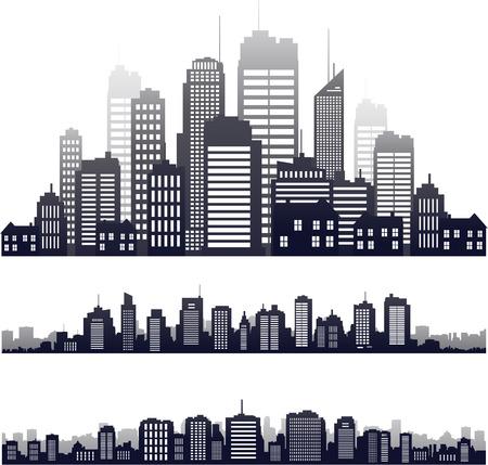 Vector stadssilhouet bouwhorizon Stock Illustratie