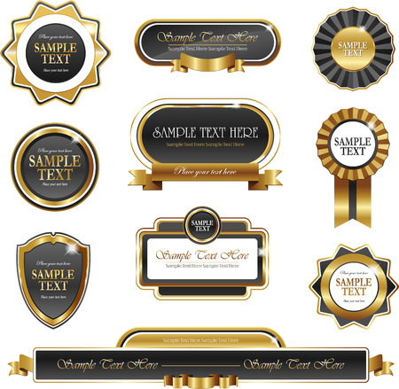 Vintage gold frame vector banners isolated on white Stock Illustratie