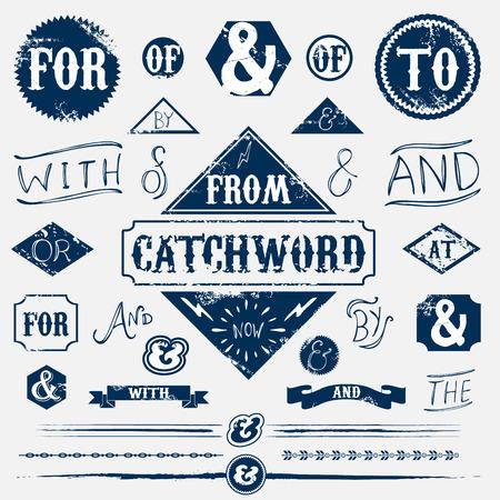 Design elements set vintage catchword Illustration