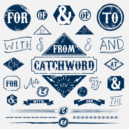 old hand: Design elements set vintage catchword Illustration