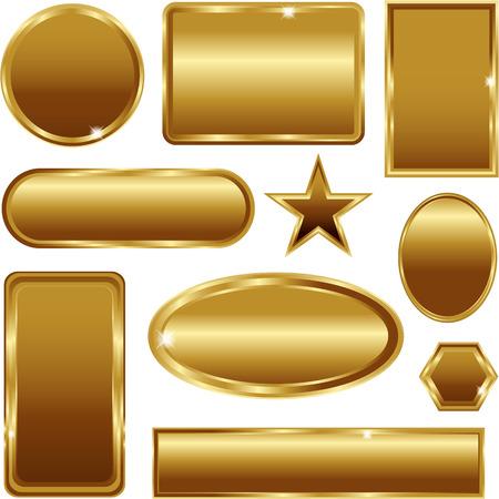Banderas del vector del marco del oro de la vendimia aislado en blanco Foto de archivo - 37252263