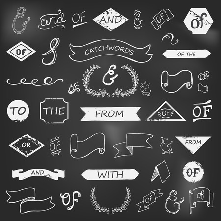 hand-lettered ampersands and catchwords on chalkboard Vector