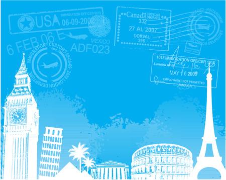 Travel europe landmarks background vector illustration