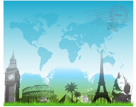 london night: Travel europe landmarks background vector illustration