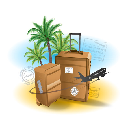 water jet: Travel suitcase background summer vacation