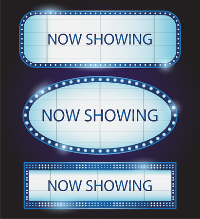 showtime: Retro Showtime Sign Theatre cinema now showing vector
