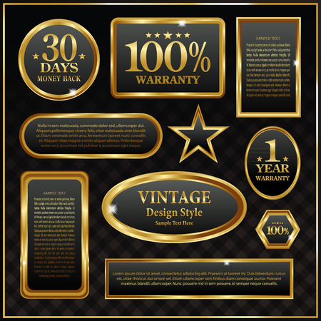 aristocratic: Gold frame labels sign rich vector banner