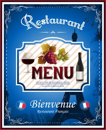 Uitstekende Franse restaurant menu en posterontwerp e Stock Illustratie