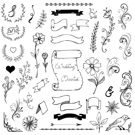 Hand Drawn Doodle Ampersands, Curves, Corners, Dividers Design Elements